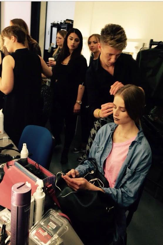 Working the hair back stage at l 39 oreal fashion show for Nick s hair salon