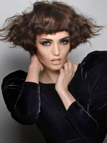 short wavy bob with fringe by Royston Blythe